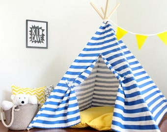 Play Tent, Kids Teepee. Bright Blue and White, Heavy Home Decor Fabric Teepee with Full One Piece Poles, Custom Order