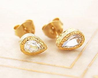 White Topaz Studs, Handmade Gold Studs, Simple Studs, Dainty Studs, Bridesmaids Earring, Gold Gemstone Earring, Diamond Cut Stones, Teardrop
