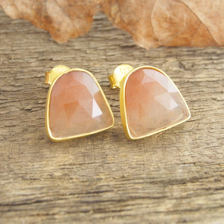 Gold earrings gold stud rutilated quartz earrings gemstone for Golden rutilated quartz jewelry