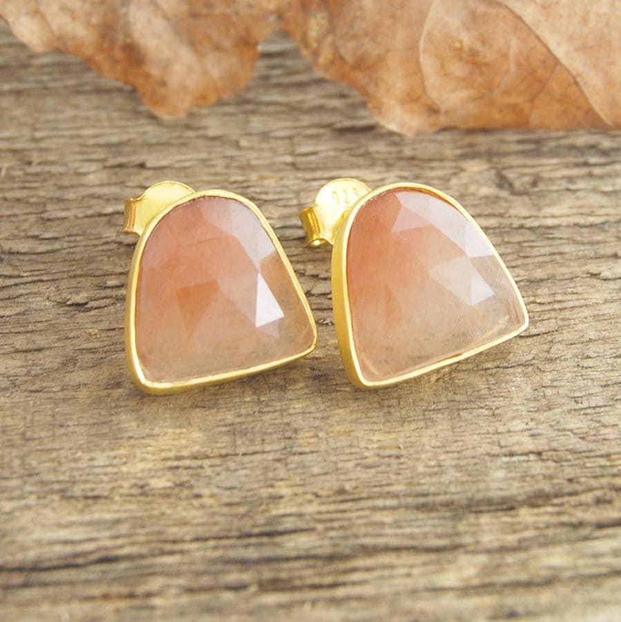Golden Rutilated Quartz Jewelry Of Gold Earrings Gold Stud Rutilated Quartz Earrings Gemstone