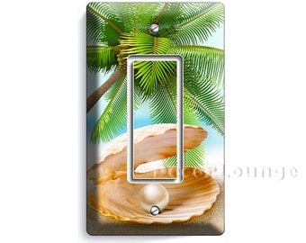 See shell with perl on a paradise palm beach  golden sand single GFI light switch cover wall plates bedroom living room art decor decoration