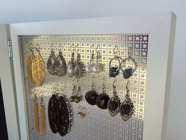 Double Framed Earringanizer  White 8x10 Frame  Jewelryanizer   Jewelry Display  Hook & Stud Earring Holder