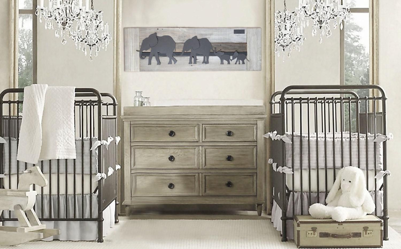 Elephant twin nursery wall art Nursery room decor for twins