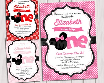 Minnie Birthday party invitation, Hot pink, pink, Red Minnie Mouse invitation, First, 1st Birthday, Printable Invitation