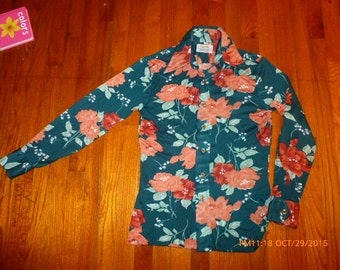 Vintage 70s Floral Mod Disco shirt size medium