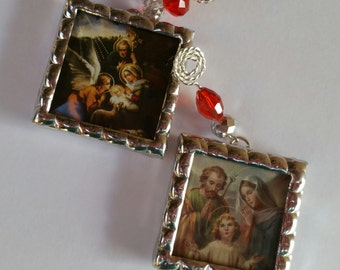 Set of 2 Holy Family sun catcher or Christmas ornaments with crystal hangers soldered in fully beveled glass