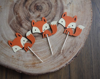 12 Fox cupcake toppers, Woodland Theme Party