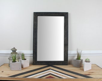 Reclaimed Wood Wall Mirror, Black Washed