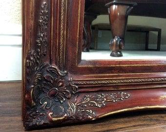"""Farmhouse Red Mirror, 37"""" by 31"""", Vanity Mirror, Bathroom Mirror, Barn Red Mirror, Wall Mirror, Decorative Mirror, Mantel Mirror"""