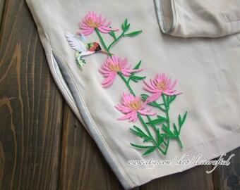 2 pcs Pink Chrysanthemum birds Flower Lace Applique Embroidery Trim Chic Floral Patch Iron on Applique Patch For Dress costume design