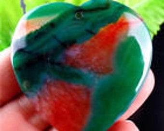 Green and Peach Agate Heart Pendant