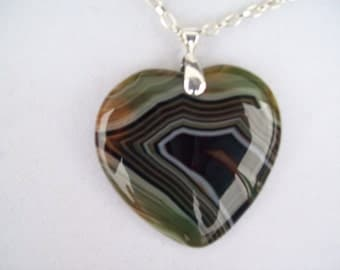 "Green, Brown, Black Striped Agate Heart Pendant 2"" long"