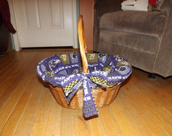 Large Baltimore Ravens Lined Wicker Basket