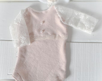 Lace Sleeved Onesie & Tieback