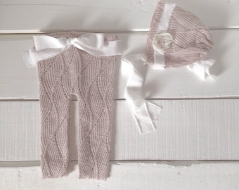 Dusty Blush 3 Piece Set, Newborn Pants and Bonnet, Stretchy Pants, Tieback