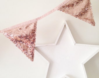 Rose Gold Sequin Bunting, Sequin Banner, Sequin Bunting, Gold Bunting for Wedding, Birthday Celebration, Bunting Room Decoration