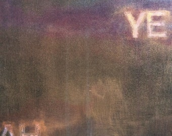 "Original Abstract Painting ""YEAH"" (gold, magenta, black)"