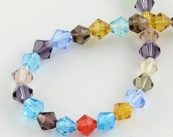 "Glass Beads Strands, Faceted, Bicone, Mixed Color, 4mm, Hole: 1mm; about 83pcs/strand, 13"" #054"