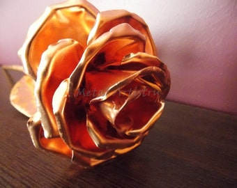 Metal rose, Handcrafted copper rose