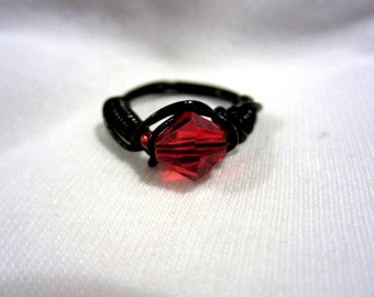 Black Vinyl Coated Wire Wrapped Red Ring, Size 6