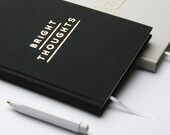 Hardcover Notebook - Bright Thoughts in Beige/Black