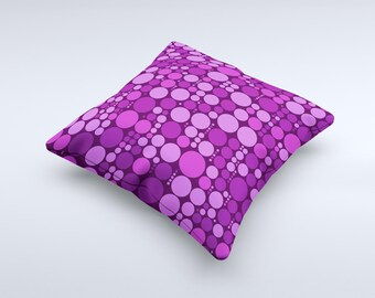 The Purple Circles Pattern ink-Fuzed Decorative Throw Pillow