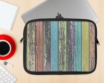The Chipped Pastel Paint on Wood Dye-Sublimated NeoPrene MacBook Laptop Sleeve Carrying Case