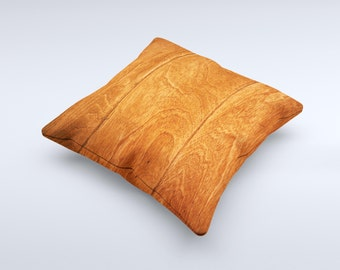 Solid Cherry Wood Planks ink-Fuzed Decorative Throw Pillow