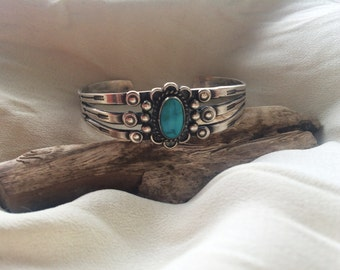 Small Vintage Sterling Silver Turquoise  Tribal Navajo/ Southwestern Style Cuff Bracelet Adjustable