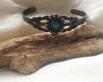 Petite Small Sterling Silver Southwestern/Navajo Bracelet Cuff Turquoise Adjustable