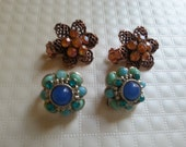 Vintage 2 pair of Clip on Earrings Collectible Jewelry from the 1950s Beaded pair of  Brown and one Blue Clip Back Earrings