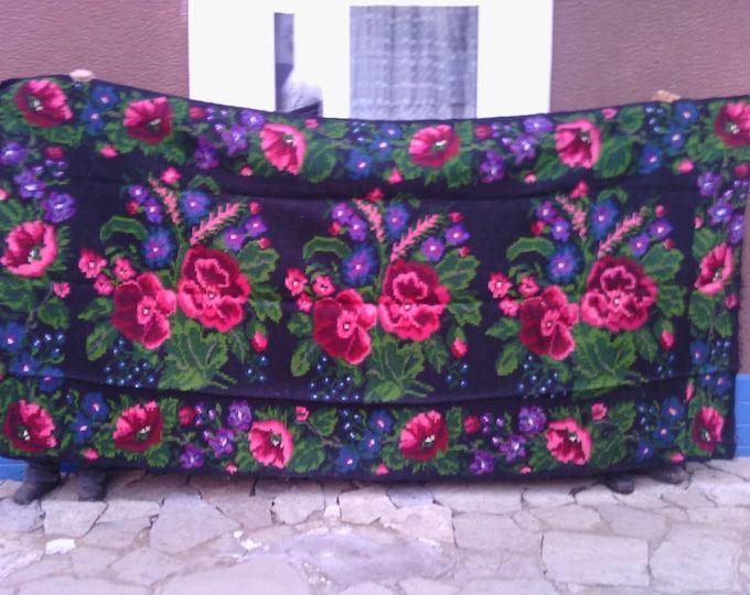 Bessarabian Kilim. Vintage Kilim, Handmade 40-50 years old, handmade.rose carpet, Ukrainian, Bessarabian carpet, ber
