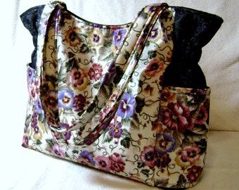 Handmade Handbag  - Flower Fabric - Fabric Handbag - Handmade Purse - Quilted Purse - Fabric Purse - One Of a Kind - HP12