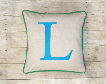 Monogrammed Pillow Cover - Letter Pillow - Linen Pillow with Initials - Pick Colors - Monogram Pillowcase - Blue and Green - Blue Letter