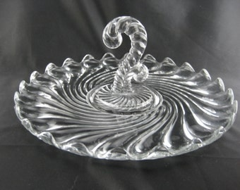 Vintage Covered Clear Glass Cake Plate Stand Dome Lidded