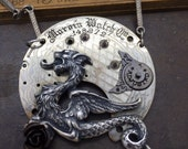 Dragon Steampunk pocket watch movement necklace. Handcrafted artistic jewelry -The Victorian Magpie