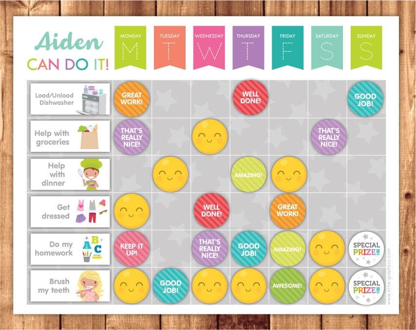 Printable Reward chart Printable Chore chart Editable PDF – Printable Rewards Charts