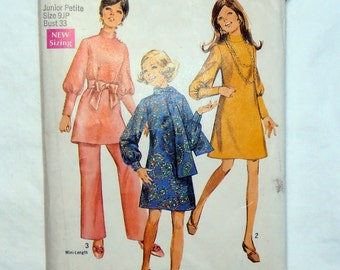 70s  Juniors  Dress, Scarf and Pants, Simplicity 8361 Sewing Pattern, Size 9 Bust 33, 60s pattern, Mini Length,  Retro Pattern, Epsteam