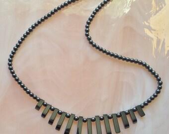HEMATITE Stone Bib Necklace