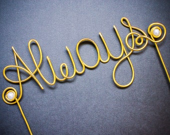 Always - Wire and Pearl Wedding Cake Topper