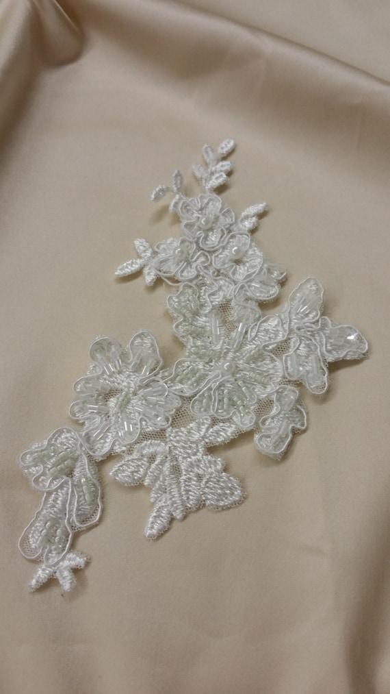 ivory lace applique beaded lace applique chantilly
