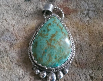 Large Teardrop Turquoise Sterling Silver Pendant - Handmade Statement Piece - OOAK - Blue Green Turquoise