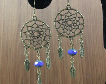 Dream Catcher earrings ~ indigo blue