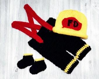 Newborn Crochet Firefighter Outfit Baby Crochet Fireman Outfit Newborn Crochet Outfit Firefighter Baby Boy Firefighter photo prop - Full Set