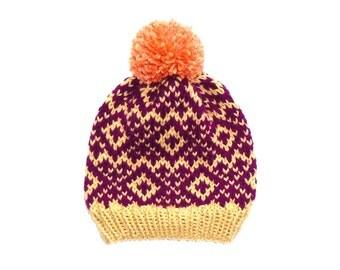 Knitted Hat - Bobble Hat - Nordic - Fair Isle - Hat For Women - Hat For Men - Vegan