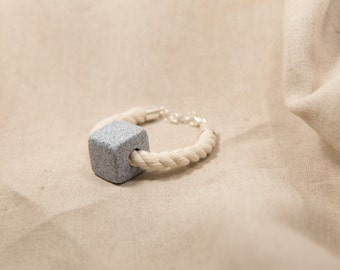 Natural Rope Bracelet, Statement Bracelet, Polymer Clay Bracelet, Handmade Jewellery, Gift for Her