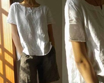 353---Women's White Linen Tee, Linen Blouse, Linen Tunic, Linen White Shirt, Short Sleeve Top, Plus Size Clothing, Made to Order.