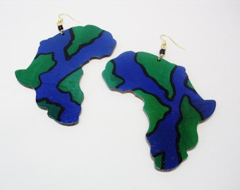 65- Wooden Africa Earrings- Black Blue and Green