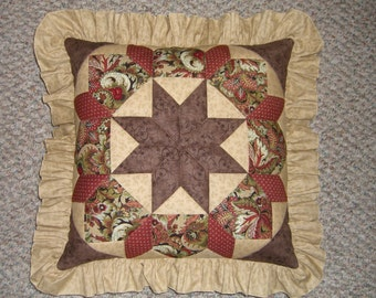 Quilted Patchwork Pillow in rusts, tans and brown