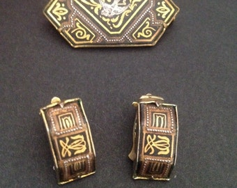 Vintage Spanish Damascene Brooch and Earrings